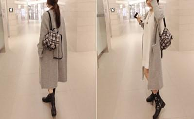 Pure Color Long Knitted Jacket