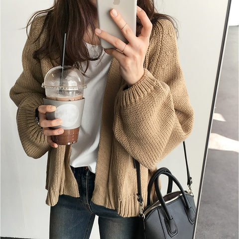 Casual Plain Loose Short Knit Cardigan Coat