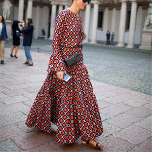 Flash Sale Retro Temperament Round Collar Printing Long-Sleeved Maxi Dress