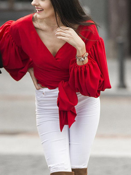 Fashion Long Sleeve V Neck Pure Colour Belted Shirt
