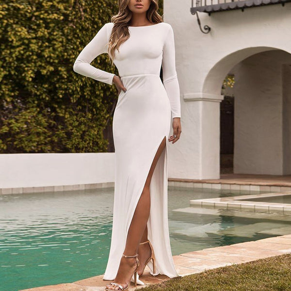Sexy Open Back Split Long Sleeve And Ground Evening Dress