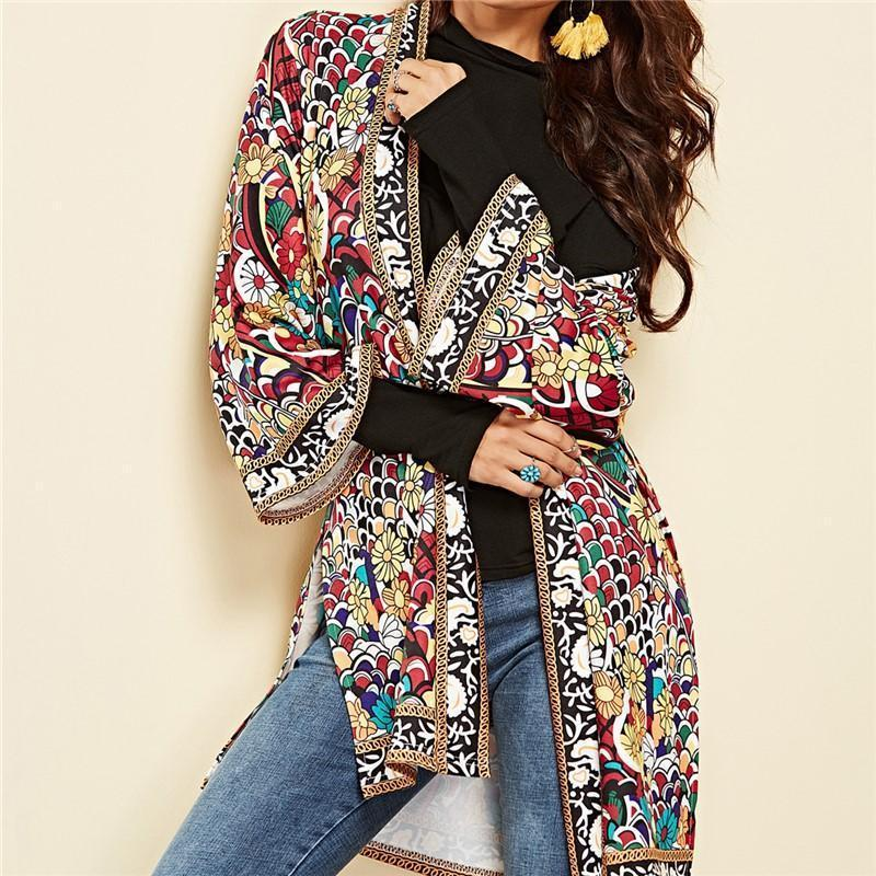 Fashion Printed Beach Cardigan Coat