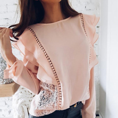 Casual Long Sleeve Round Neck Ruffled Shirt