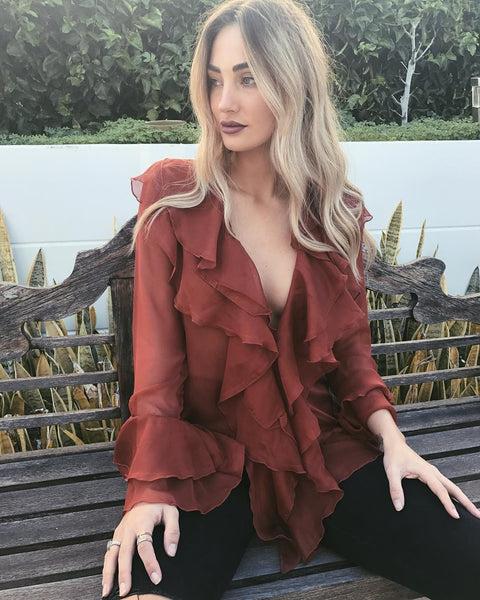 Fashion Pure   Colour Long Sleeve Ruffled Blouse