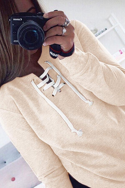 Asymmetric Neck  Drawstring  Plain  Sweatshirts