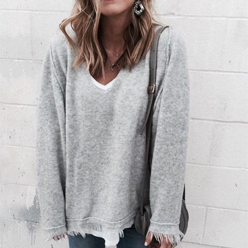 V-Neck Tasseled Loose-Knit Rabbit Bottom Sweater