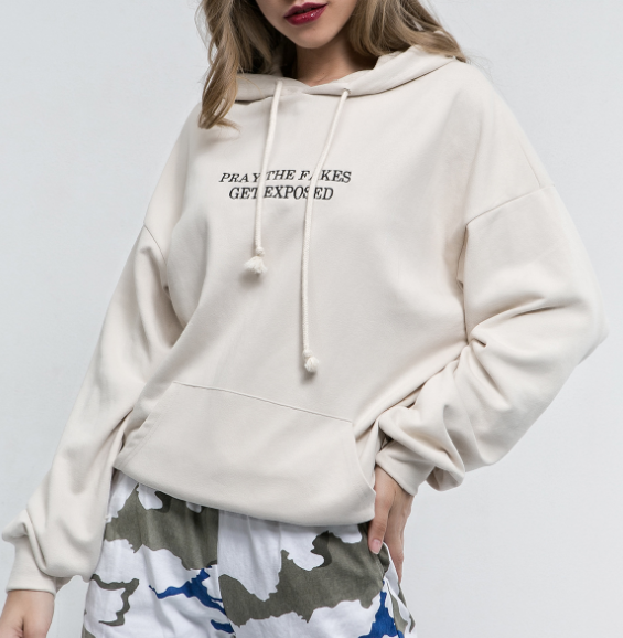 Letter Embroidered Loose Pockets Hooded Tops