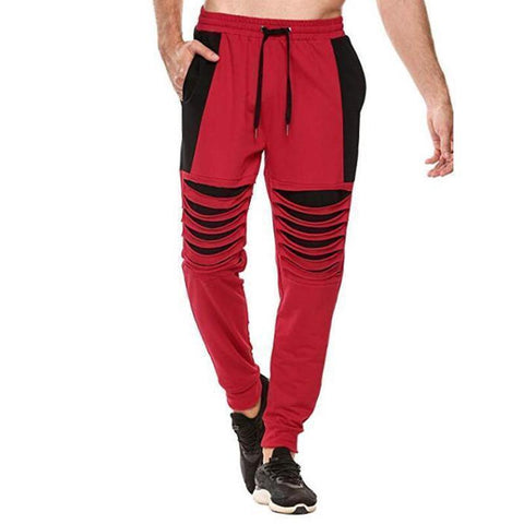 Men's Knee Hole Personality Color Matching Sweatpants