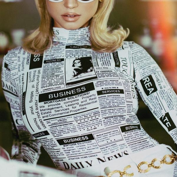 Sexy Long Sleeve Newspaper Pattern Slim One-Piece