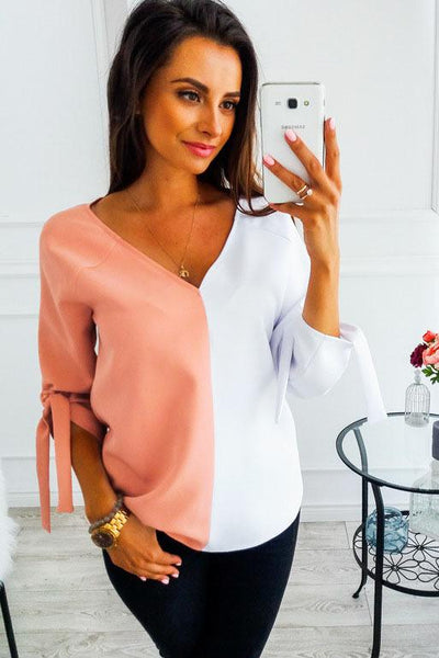 Sexy Turndown Contrast   Color Blouse