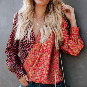 Casual Printed Colour Deep V Long Sleeve T-Shirt