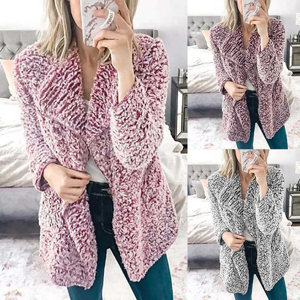 Lapel Long Sleeve Polar Fleece Fashion Cardigans