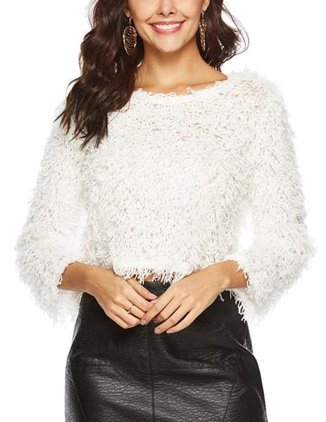 Pure Color Sexy Round   Neck Long Sleeve Knitted Sweater Plush Top