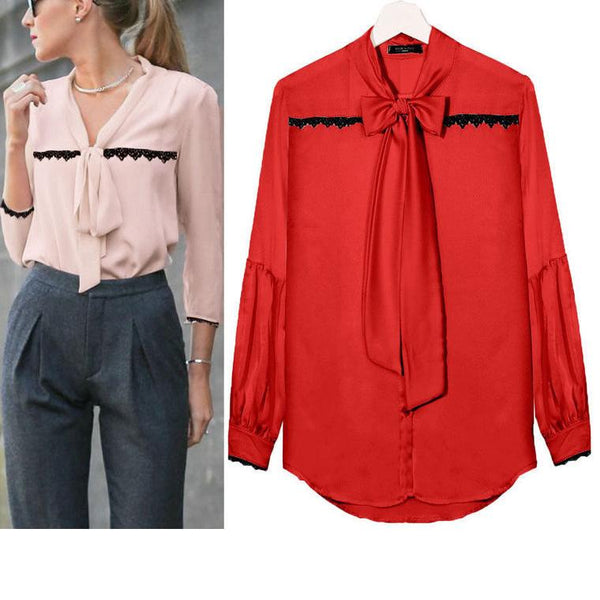 Casual Long Sleeve Bow Lace Chiffon T-Shirt
