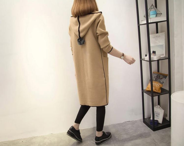Baggy Hooded Cardigan  Long Coat