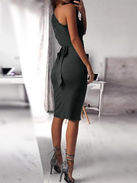 Fashion Sloping Shoulder Pure Colour Bodycon Dresses