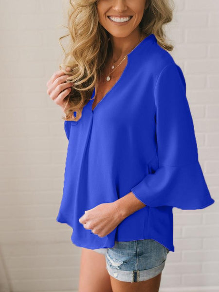 Fashion Deep V Loose Pure Colour T-Shirt