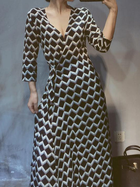 Sexy Big Size V Neck Contrast Color Maxi Dresses