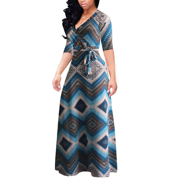 Sexy Halflong Sleeve V Neck Printed Colour Maxi Dresses