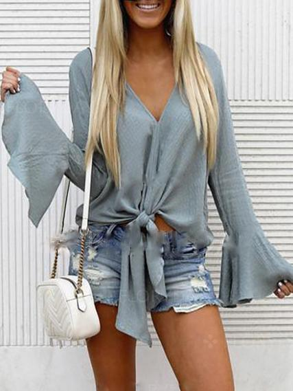 Casual V Neck Pure Colour Bell Sleeve Knitwear