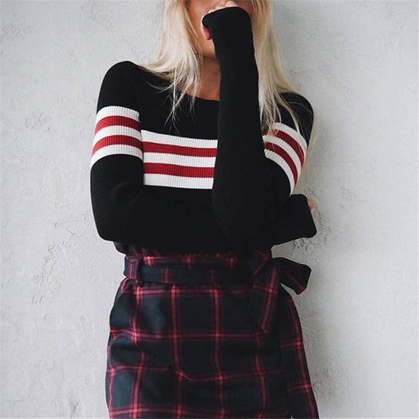 Short Striped Slim Round Neck Long Sleeve Sweater