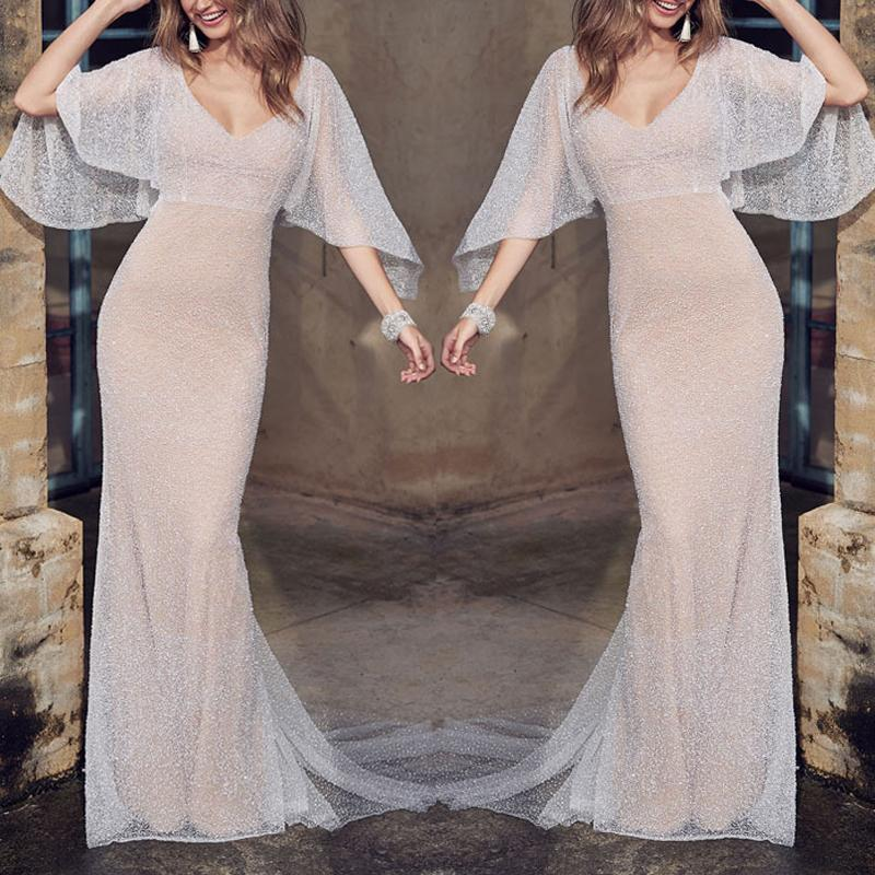 Sexy Lace Deep V Slim Sleeveless Maxi Dresses