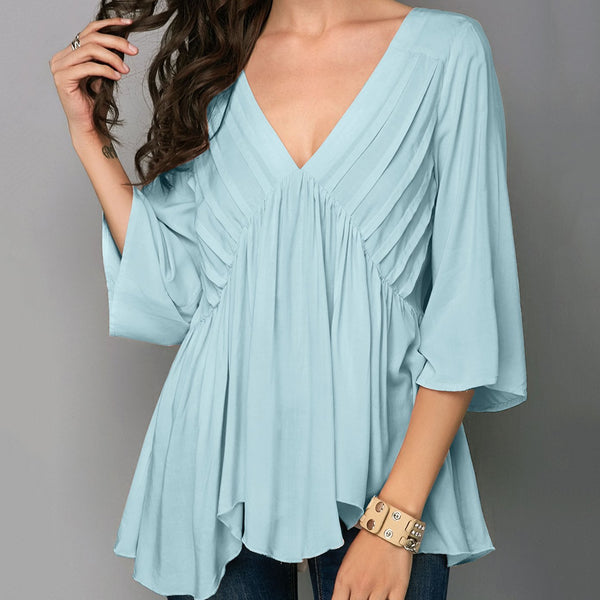 Casual V Neck Halflong Sleeve Pure Colour Shirt
