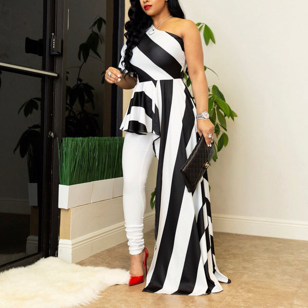Casual Striped Sloping Shoulder Maxi Dresses