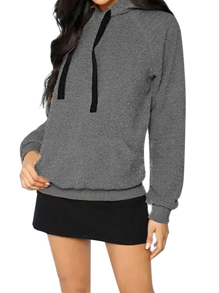 Casual Plush Caps Long Sleeve Hoodie