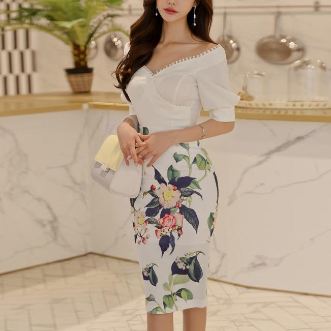 Casual V Neck Irregular T-Shirt And Printed Colour Skirt