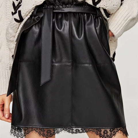 Fashion Lace Splicing Pure Colour PU Short Skirt