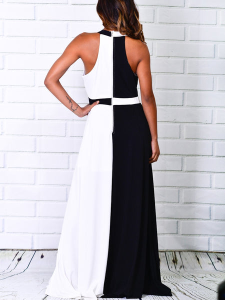 Sexy Black And White Splicing Sleeveless Maxi Dresses
