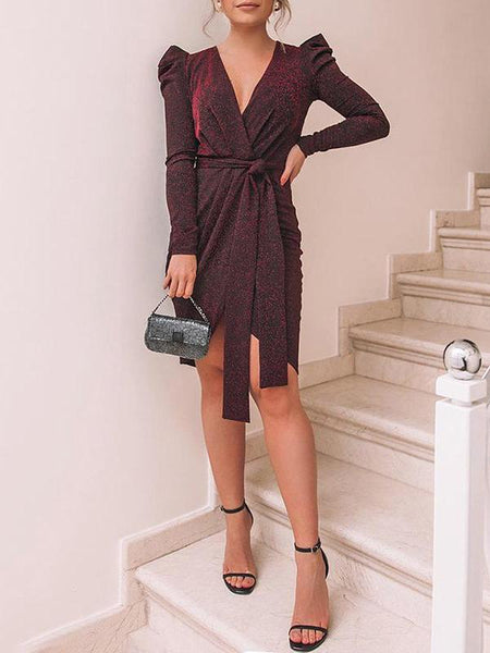 Fashion Pure Colour V Neck Mini Dresses