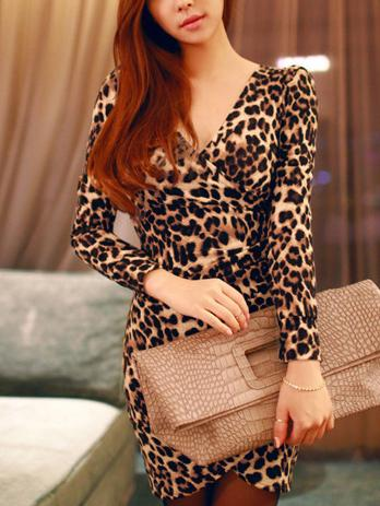 Fashion V Neck Leopard Print Bodycon Dresses
