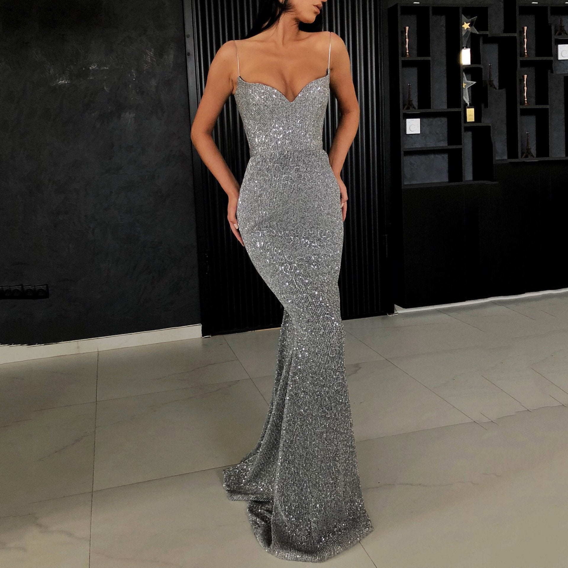 Sexy Sling Bag Hip Fishtail Mopping Maxi Dress