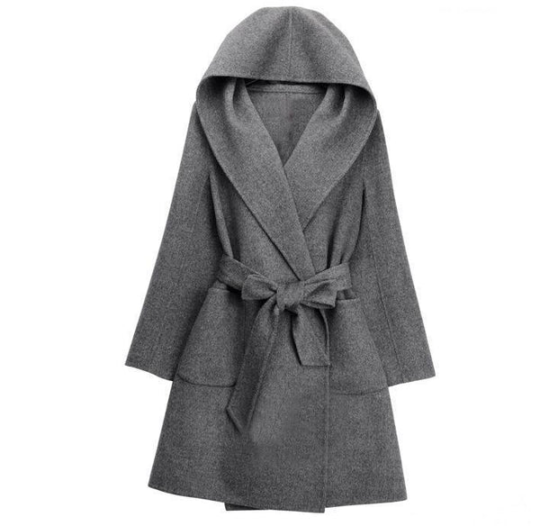 Pure Color Fashion Oversize Hooded Woolen Overcoat