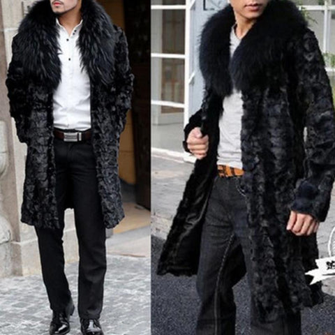 Men's Imitation Mink Fur Fox Fur Collar Long Faux Fur Coat