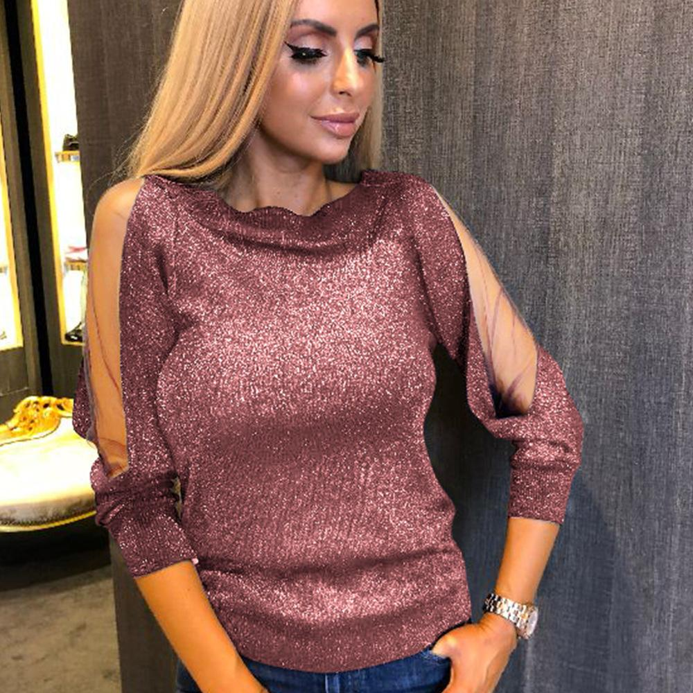 Round Neck Slit Sleeve Top