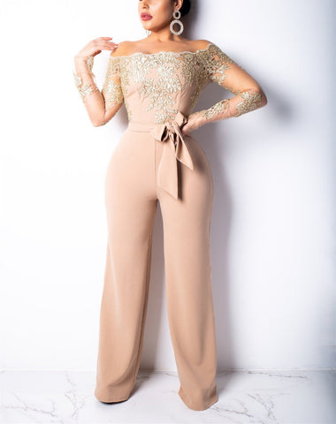Sexy One Word Neck Off The Shoulder Lacy Embroidered Wide Leg Jumpsuit