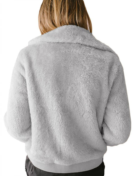 Pure Color Zipper Warming Sweater Plush Cardigan