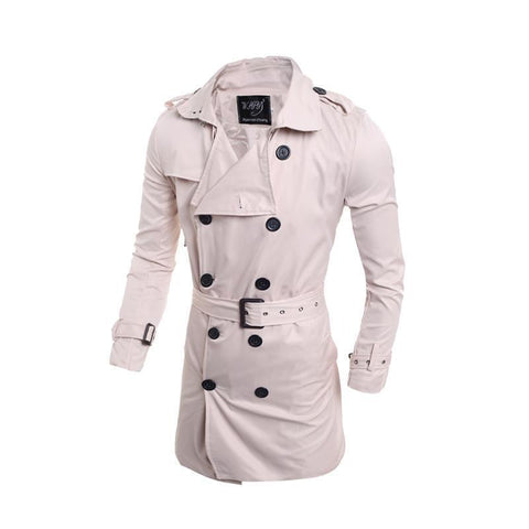 Elegant Plain Lapel Collar Button Slim Long Windbreaker Coat