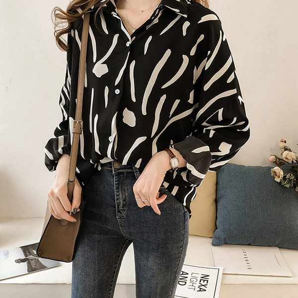 Casual Long Sleeve Printed Colour Loose Shirt