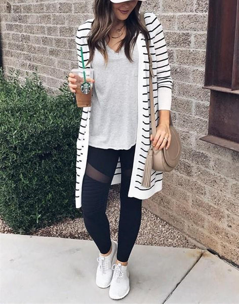 Fashion Casual Long Striped Cardigan Coat