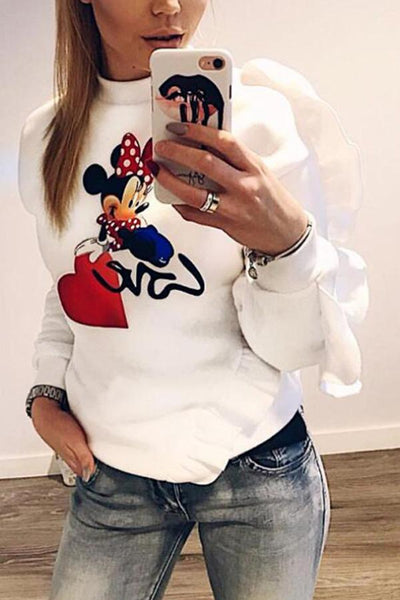 Round Neck  Animal Prints Sweatshirts