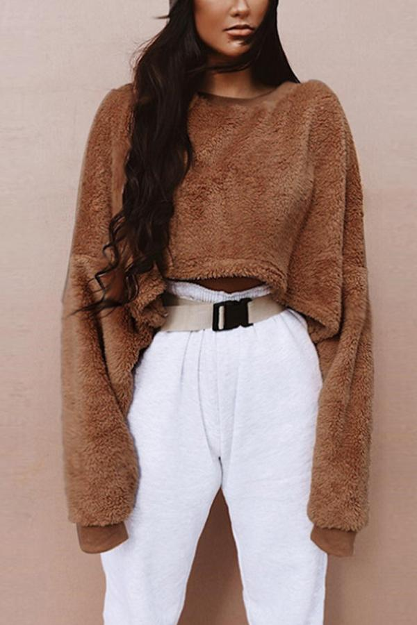 Round Neck  Loose Fitting  Exposed Navel  Plain Sweatshirts