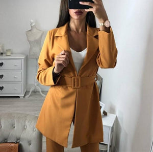 Casual Pure Color Simple OL Lapel Small Suit Jacket With Belt