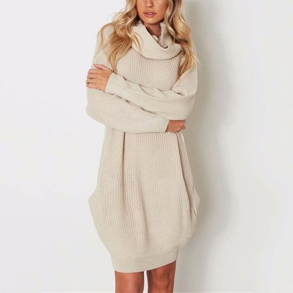 Casual Pure Color Callus Pile Neck Long Oversize Sweater Dress
