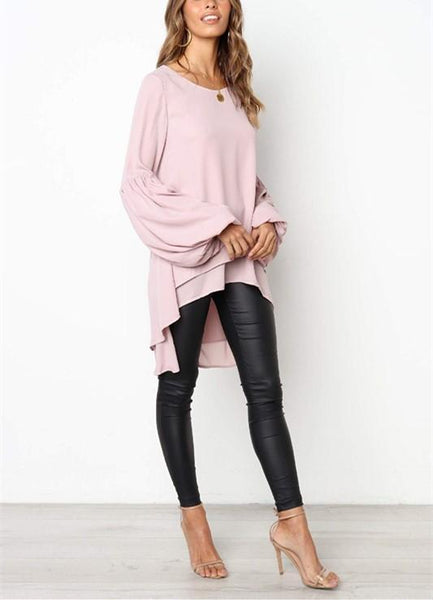 Casual Pure Color Slim Hubble Bubble Sleeve Irregular Hem Top T-Shirt