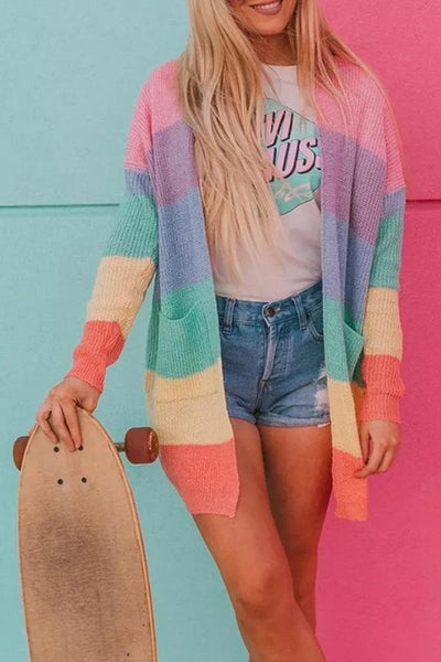 Snap Front  Striped Cardigans
