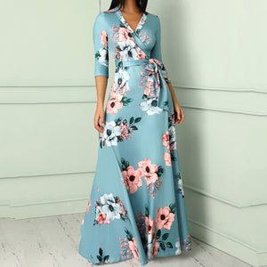 Fashion V Neck Printed Colour Maxi Dresses